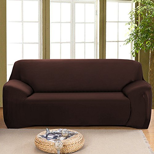 """Stretch Seat Chair Covers Couch Slipcover Sofa Loveseat Cover 9 Colors/4 for 1 2 3 4 Four People Sofa + 1 Pillowcase (91""""-118""""/4 Seater, Coffee)"""