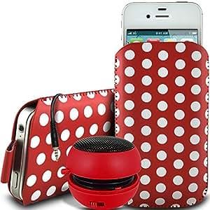 Online-Gadgets UK - HTC One S protección PU Polka Diseño Tire de la lengüeta de deslizamiento de pana en bolsa de la caja con cierre rápido y 3.5mm Mini altavoz recargable - Rojo