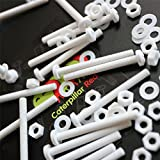 20 x White Philips Pan Head Screws Polypropylene (PP) Plastic Nuts and Bolts, Washers, M4 x 40mm, Acrylic, Water Resistant, Anti-Corrosion, Chemical Resistant, Electrical Insulator, Strong.