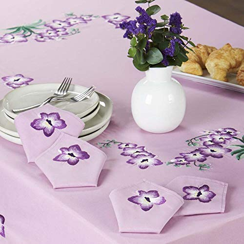 Herrschners® Purple Orchids Napkins Stamped Embroidery
