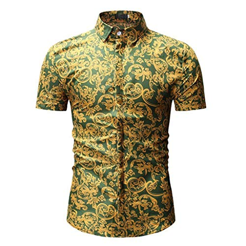 POHOK Mens T Shirts Men's Casual Fit Slim Short Sleeve Printed Stand Collar Button Shirt Top Blouse Green from POHOK