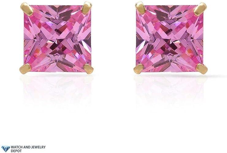 14K Yellow Gold 2Ct Princess October Birthstone Created Tourmaline Stud Earrings