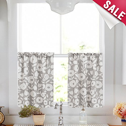 Tier Curtains for Kitchen Windows 24 inch Linen Textured Cafe Curtains Vintage Floral Printed Window Curtains for Bathroom Rod Pocket Short Curtains, 1 Pair, Grey and White ()