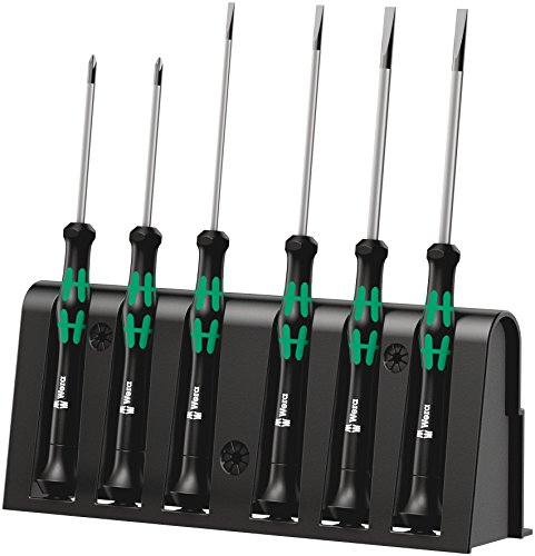 Wera 2035/6 A Kraftform Micro Slotted/Phillips Electronics Screwdriver Set and Rack, 6-Pieces