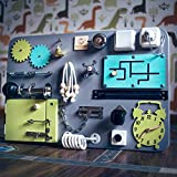 Shafa-4 Handmade Wooden Busy board, Clever Puzzles, Locks and Latches Activity Board European quality. (grey+green+blue)