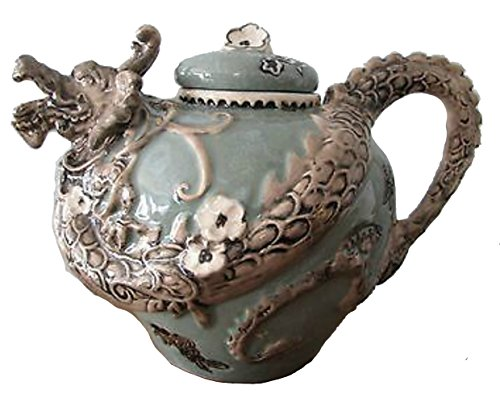 "Blue Sky Clayworks Figural Jade Green Dragon Teapot 10"" H 13106G"