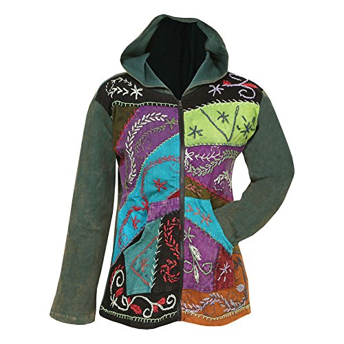 Embroidered Zip Hoodie (Women's Folk Art Hand-Embroidered Zip Front Hoodie Sweatshirt - 100% Cotton - Green - Small)