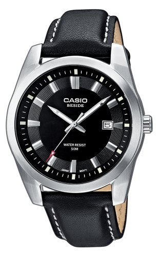 Casio Collection Herren-Armbanduhr Leder Analog schwarz BEM-116L-1AVEF