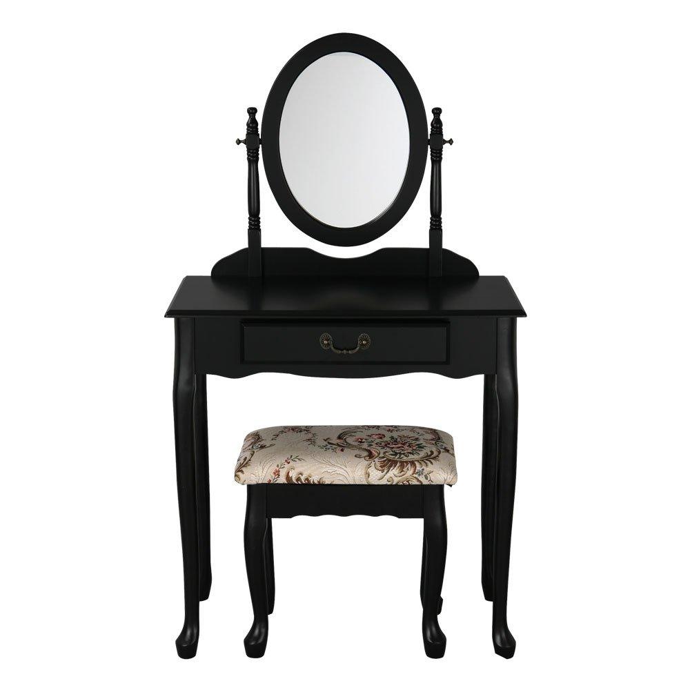 【完成品・組立不要】 プリンセスドレッサー 鏡台 化粧台 ドレッサー テーブル 鏡 スツール セット ブラック