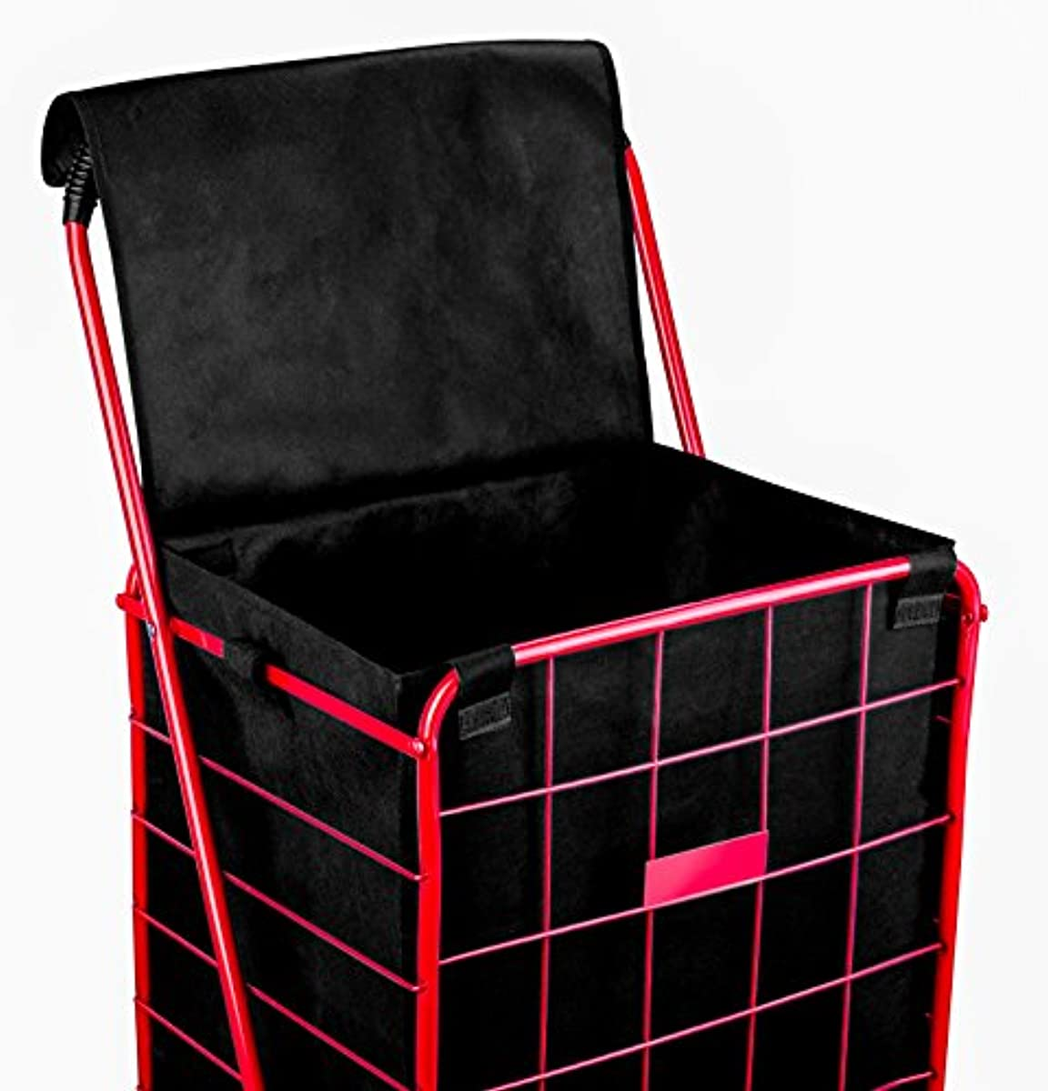 Folding Shopping Cart Liner Rolling Utility Black Trolley