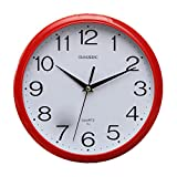 SODIAL(R) Large Vintage Round Modern Home Bedroom Retro Time Kitchen Wall Clock Quartz Red