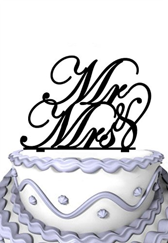 Price comparison product image Meijiafei Laser Cut Mr and Mrs Script Cake Topper,  Rustic Wedding Cake Topper