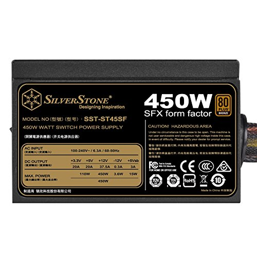 SilverStone Technology 450W SFX Form Factor 80 PLUS BRONZE Power Supply (ST45SF-V3) by SilverStone Technology (Image #1)