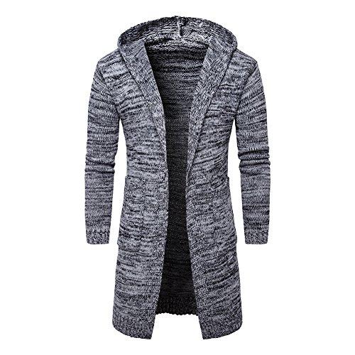 manga chaqueta Otoño larga larga Suéteres Invierno con capucha capucha elegante oversize para hombre Sudadera de Chaqueta con de con punto Abrigo con invierno Gris Outwear para hombres Abrigo sueltos xnaEwXzE8q