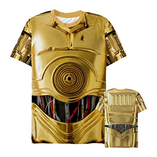 Star Wars Men's C-3PO Droid Costume Multi-Color All-Over Print T-Shirt]()