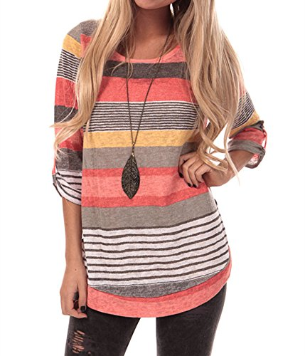 Women's Striped 3/4 Sleeve Top Blouse (Large, Coral)