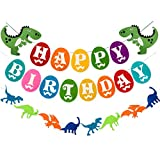 Dinosaur Happy Birthday Banner, Colorful Felt Garland Flag for Dino Jungle Jurassic First Birthday Dinosaur Party Supplies Decorations