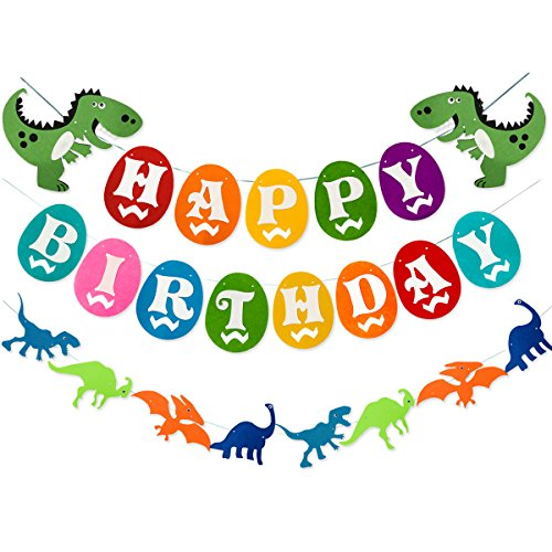 Dinosaur Happy Birthday Banner, Colorful Felt Garland Flag for Dino Jungle Jurassic First Birthday Dinosaur Party Supplies Decorations by Haptda (Image #9)