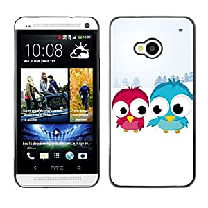 TopCaseStore / la caja del caucho duro de la cubierta de protección de la piel - Funny Cute Bird Friends - HTC One M7