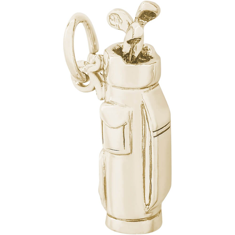 Rembrandt Charms 10K Yellow Gold Golf Clubs Bag Charm (0.83 x 0.23 inches)