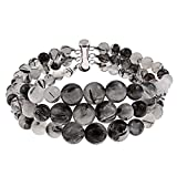 3 Row Black Rutilated Quartz Round Journey Bead Bracelet Sterling Silver clasp Jewelry for Women