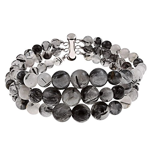 3 Row Black Rutilated Quartz Round Journey Bead Bracelet Sterling Silver clasp Jewelry for Women ()