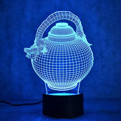 (Zonxn Creative 3D Led Visual Night Light Colorful Changeable Gradient Fashion Sculpture Light Fixtures USB Flagon Teapot Desk Lamp Gift)
