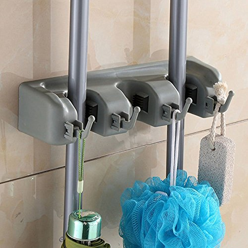 SUMCOO No slide Kitchen Wall Mounted Mop, Brush And Broom Hanger Storage Rack & Holder,Garage Shed ,Sports Equipment And Closet Organizer Holder Tool Storage and Rack (3 POSITION) (Broom Holder Rubber compare prices)