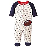 BON BEBE Baby-Boys Newborn Football Snap Front Footed Coverall, Multi, 6-9 Months