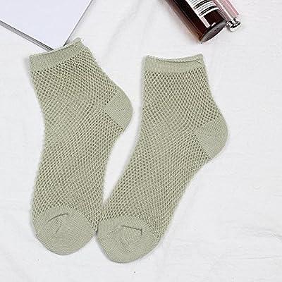 Maivasyy 3 paires de chaussettes femme coton couleur solide court résille respirante creux au printemps et en été de faible section fine Chaussettes, Vert armée