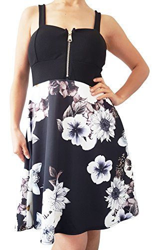 Robe avec bretelle motif fleuri - Noir - Taille unique