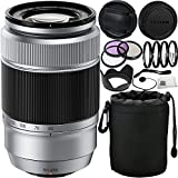 Fujifilm XC 50-230mm f/4.5-6.7 OIS Lens (Silver) International Version (No Warranty) (White Box) 13PC Accessory Kit. Includes Manufacturer Accessories + 3PC Filter Kit (UV-CPL-FLD) + MORE