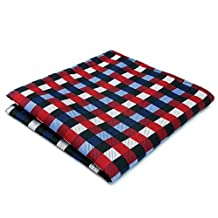 Shlax&Wing Checked Red Blue Handkerchiefs Pocket Square Hankies Hanky