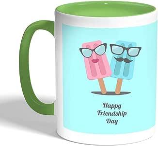 كوب سيراميك للقهوةhappy friendship day بطبعة عيد صداقة سعيد، لون اخضر