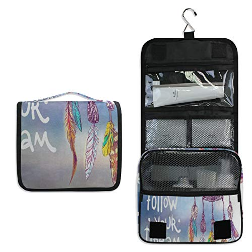 Toiletry Bag Follow Your Dream Dreamcatcher Quote Hanging Travel Toiletry Organizer Kit with Hook and Handle Waterproof Makeup Cosmetic Bag for Men or Women