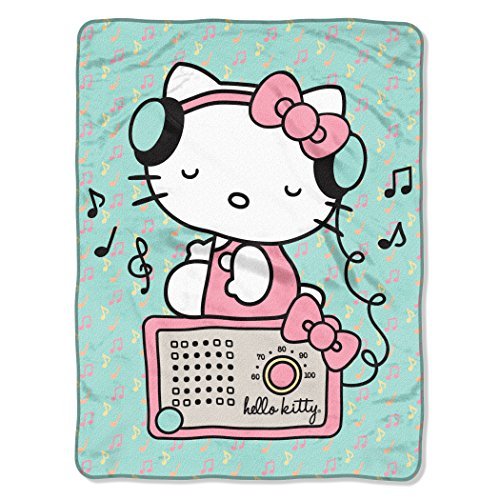 Micro Throw Blanket Raschel 50x60 (SANRIO Hello Kitty, Rocking Kitty Micro Raschel Throw Blanket, 46