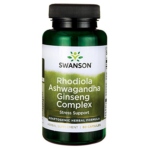 Swanson Rhodiola Ashwagandha Ginseng Complex Mood Energy Immune Function Nervous System Stress Support Adaptogen Herb Supplement 60 Capsules -