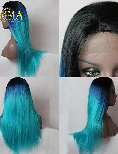 Beauty Fashion Wigs New Ombre Wig Black to Blue Romantic Long Straight Wig Natural Soft Remy Hand Tied Lace Front Wig (Harley Quinn Costume Commission)