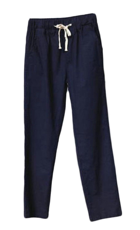 Fulok Womens Summer Linen Harem Elastic Waist Solid Ankle Length Pants hot sale