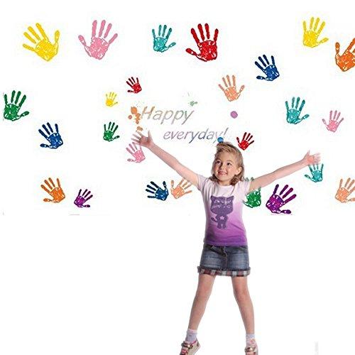 Wall Art Decal Sticker Set for Kids DIY Primary Color 26pcs Handprints Happy Everyday Bedroom Playroom Nursery Decor