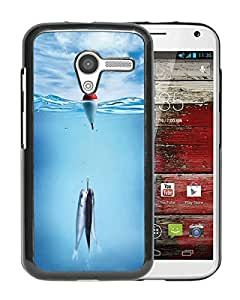 AZE Beautiful Fashion Fish On A Hook Black Case Cover For Moto X