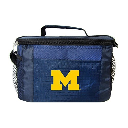 NCAA Michigan Wolverines Team Logo 6 Can Cooler Bag or Lunch Box - Blue
