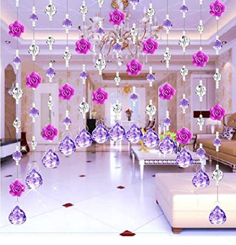 1M Beaded Trim Clear Crystal Garland Chandelier Octagon Beads Chain Bedroom crystal bead curtai (Rose Red + Pendant,15pcs)