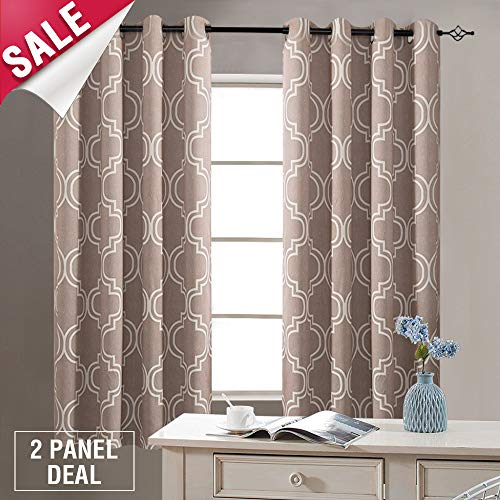 Curtains for Bedroom 63 inches Long Taupe Moroccan Tile Printed Curtains for Bedroom Window Curtain Panels Room Darkening Curtains, Grommet Top Window Treatment ()