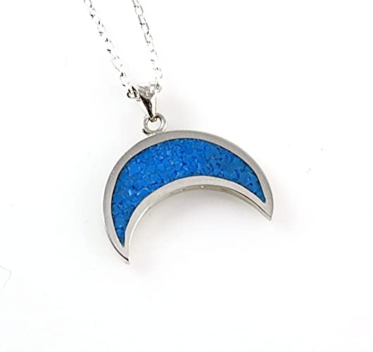 dc5e5104ab8 Sterling Silver Blue Turquoise Half Moon Crescent Handcrafted Pendant  Necklace 17'' (43.5cm)Chain