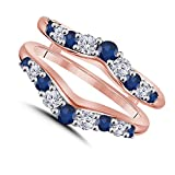 1/2ct White CZ Simulated Diamond & Blue Sapphire Solitaire Enhancer Ring Insert Guard Wrap 14K Rose Gold Plated Alloy women Jewelry