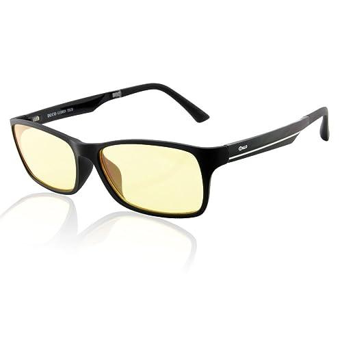 Duco Gaming Glasses for Blue Light Blocking Computer Glasses for Deep Sleep - Digital Eye Strain Prevention 223 Black (Amber Lenses)