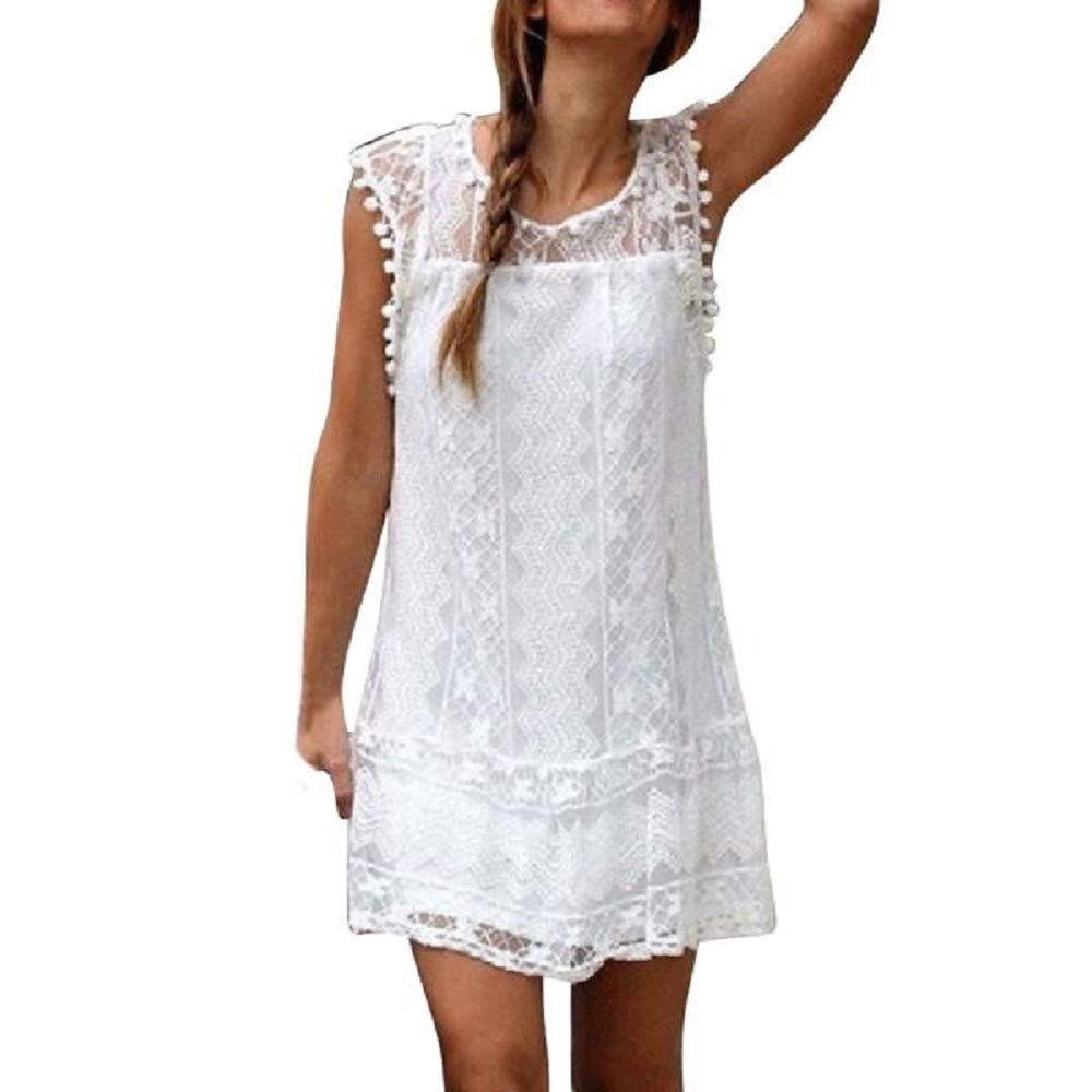 Summer Dresses, Women O-Neck Casual Lace Sleeveless Beach Short Dress Tassel Mini Dress Tank Dress Sundress Print White