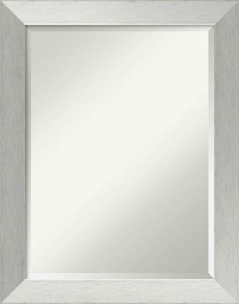 Amanti Art Framed Vanity Mirror | Bathroom Mirrors for Wall | Brushed Sterling Silver Mirror Frame | Solid Wood Mirror | Medium Mirror | 28.00 x 22.00 in.