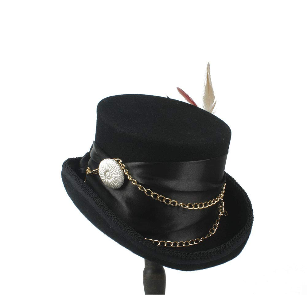 LL Women'sFeather Metal Chain Top Hat Ladies Wool Fedora Magician Party Hat 4Size S M L XL 13.5 cm (5.3 Inch) (Color : Black, Size : 61cm) by LL (Image #3)
